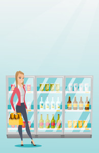 Young woman standing in alcohol store with pack of beer on the background of refrigerator. Woman buying beer. Beer lover holding pack with bottles. Vector flat design illustration. Vertical layout.
