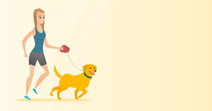 Young woman with her dog. Happy woman taking dog on walk. Caucasian woman walking with her small dog. Smiling woman walking a dog on leash. Vector flat design illustration. Horizontal layout.
