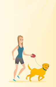 Young woman with her dog. Happy woman taking dog on walk. Caucasian woman walking with her small dog. Smiling woman walking a dog on leash. Vector flat design illustration. Vertical layout.