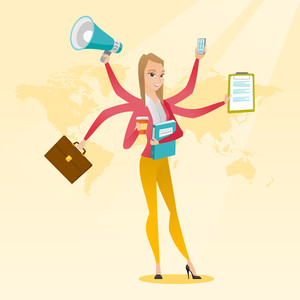 Young woman with many legs and hands coping with multitasking. Business woman doing multiple tasks. Multitasking business person. Multitasking concept. Vector flat design illustration. Square layout.