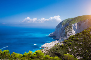 Zakynthos steep coastline, limestone cliffs on the western part of island. Greece