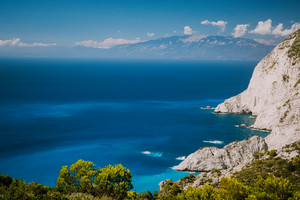 Zakynthos steep coastline, limestone cliffs on the western part of island. Greece