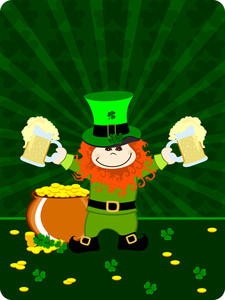 St.patrick`s Day Card With Leprechaun Having Beer Mugs And Gold Coin's Cauldron. Vector