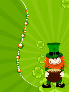 St.patrick`s Day Card With Leprechaun Having  Gold Coin's Cauldron. Vector