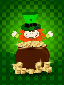 St.patrick's Day Card With Leprechaun Having Gold Coin's Cauldron.