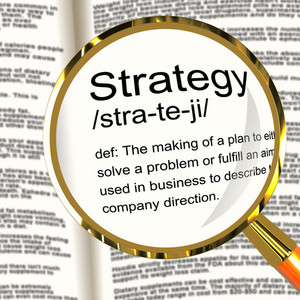 Strategy Definition Magnifier Showing Planning Organization And Leadership