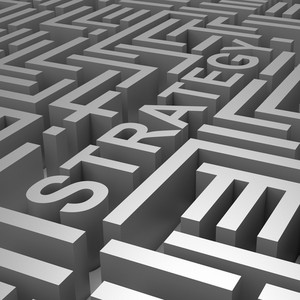 Strategy Word In Maze Shows Blueprint Or Plan