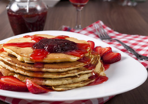 Strawberries Jam And Pancakes