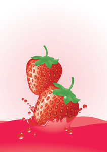 Strawberry Splash. Vector.
