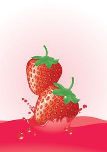Strawberry Splash. Vector.