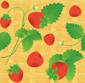 Strawberry Vector Seamless Background.