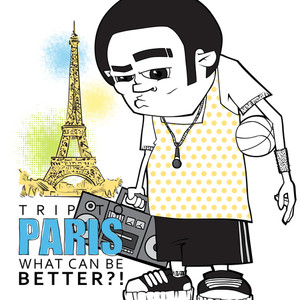 Streetball Character On A Eiffel Tower Background. Vector Illustration