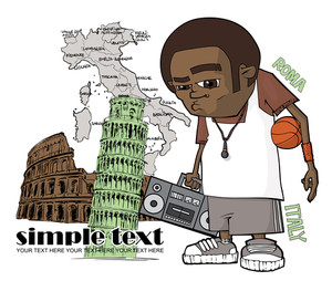 Streetball Character On A Italian Background. Vector Illustration.
