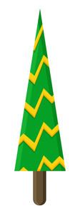 Striped Christmas Tree Vector