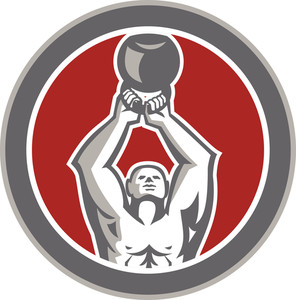 Strongman Lifting Up Kettlebell Circle Retro