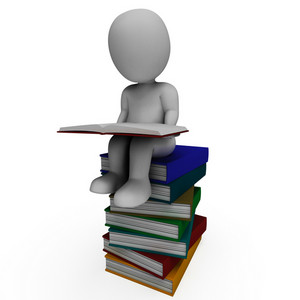 Student And Books Shows Learning