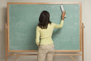 Student erasing chalkboard