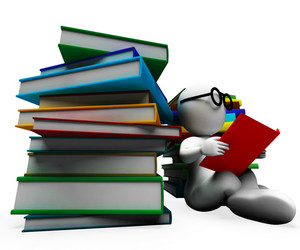 Student Reading Books Showing Learning