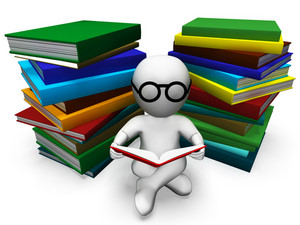 Student Reading Books Shows Learning