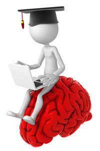 Student With Laptop Sitting On Top Of The Brain.