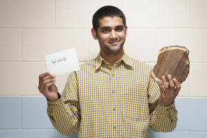 Student with wood