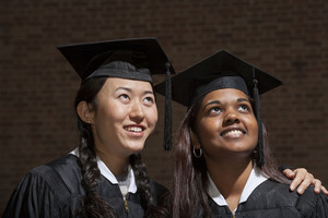 Students at graduation ceremony