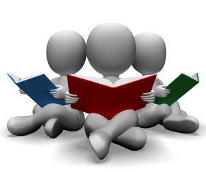 Students Reading Books Showing Education