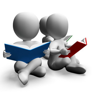 Students Reading Books Shows Education