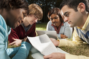 Students studying outside in quad