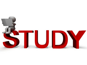 Study Word Shows Education Or Learning