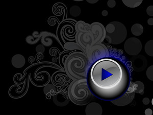 Stylish And Shiney Music Play Icon On Dark Background With Florals10