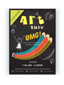 Stylish Arts Show template banner or flyer design with show details.