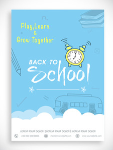 Stylish Back to School template banner or flyer design in blue and white color.