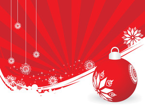 Stylish Background With Red Xmas Ball