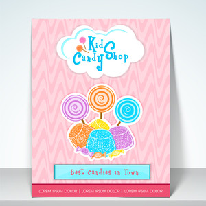 Stylish banner flyer and menu for kisd candy shop.