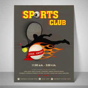 Stylish banner for sports club with adress bar and mailer.