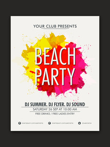 Stylish Beach Party celebration flyer banner or template with colorful splash.