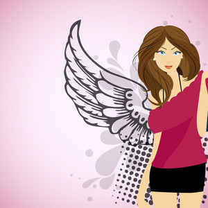 Stylish Beautiful Young Girl With Wings On Modern Abstract Background