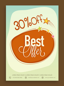 Stylish Best Offer Sale poster banner or flyer design with discount offer.