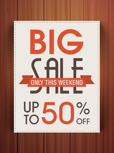 Stylish Big Sale flyer banner or template with 50% discount offer on wooden background.