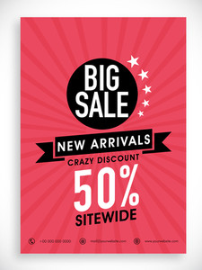 Stylish Big Sale poster banner or flyer design with discount offer on new arrivals.