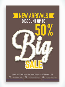 Stylish Big Sale poster banner or flyer design with fantastic discount offer on new arrivals.