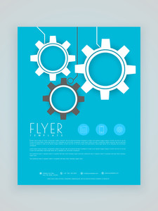 Stylish blue business flyer template or brochure layout with gear icons.