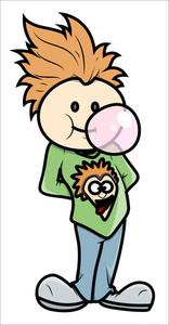 Stylish Boy Blowing Bubble Gum - Vector Cartoon Illustration