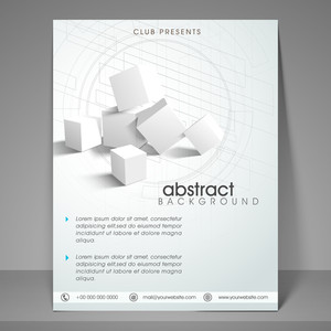 Stylish business flyer banner or template design with 3D cubes.