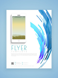 Stylish business flyer template or brochure design based on technology concept.