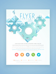 Stylish business flyer template or brochure design with 3D gears and colorful web icons.