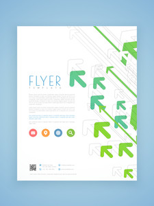 Stylish business flyer template or brochure design with arrows.
