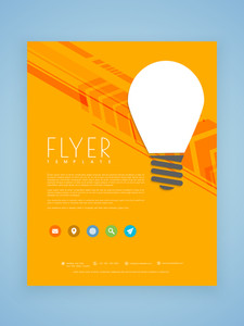 Stylish business flyer template or brochure design with light bulb for idea concept.