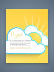 Stylish business flyer template or brochure with paper clouds and rising sun effect.